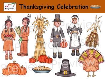 Thanksgiving clip art . Pilgrims clipart celebration