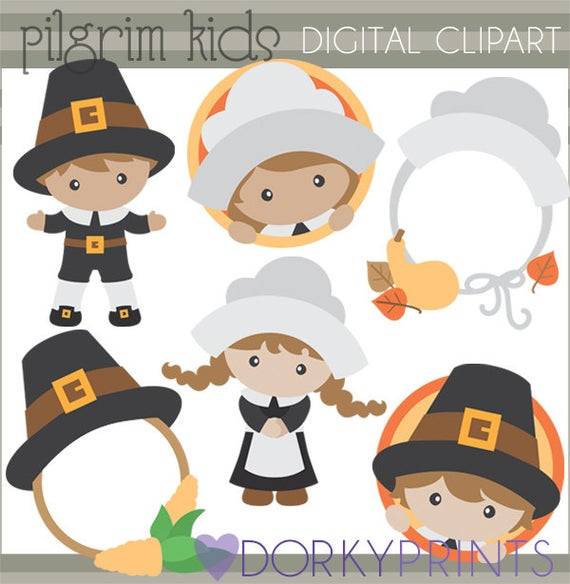 Pilgrims clipart cute. Thanksgiving pilgrim kids personal