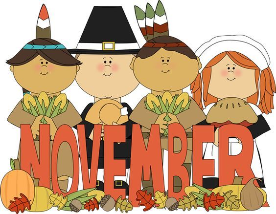 Pilgrims clipart happy. Month of november and