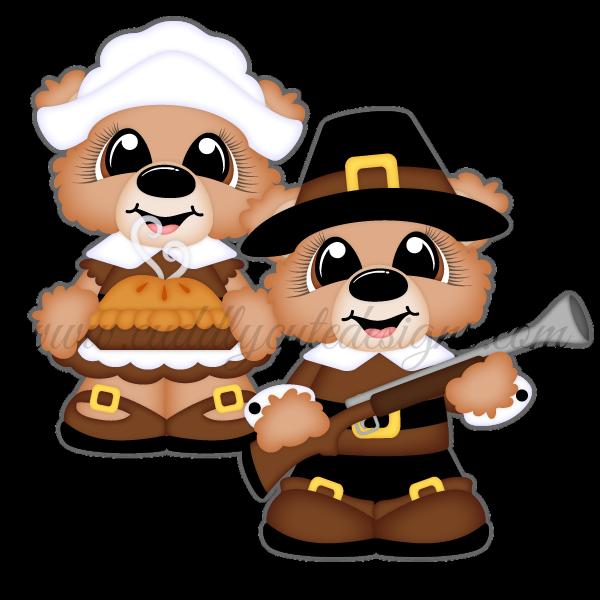 Pilgrim bears holiday punch. Pilgrims clipart wampanoag