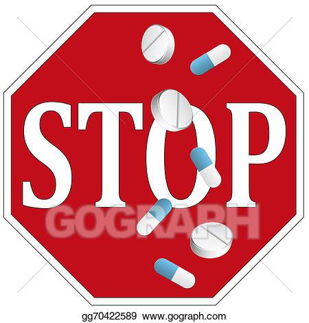 Pills clipart drug misuse. Stock illustration stop clip