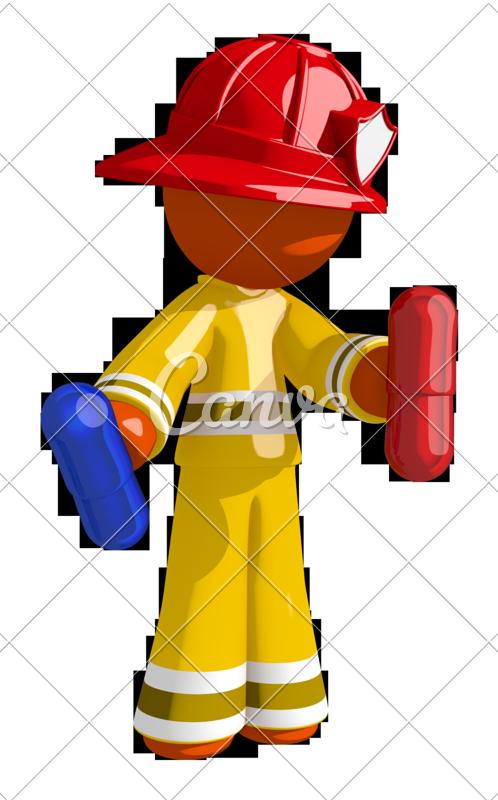Orange man firefighter blue. Pill clipart red pill