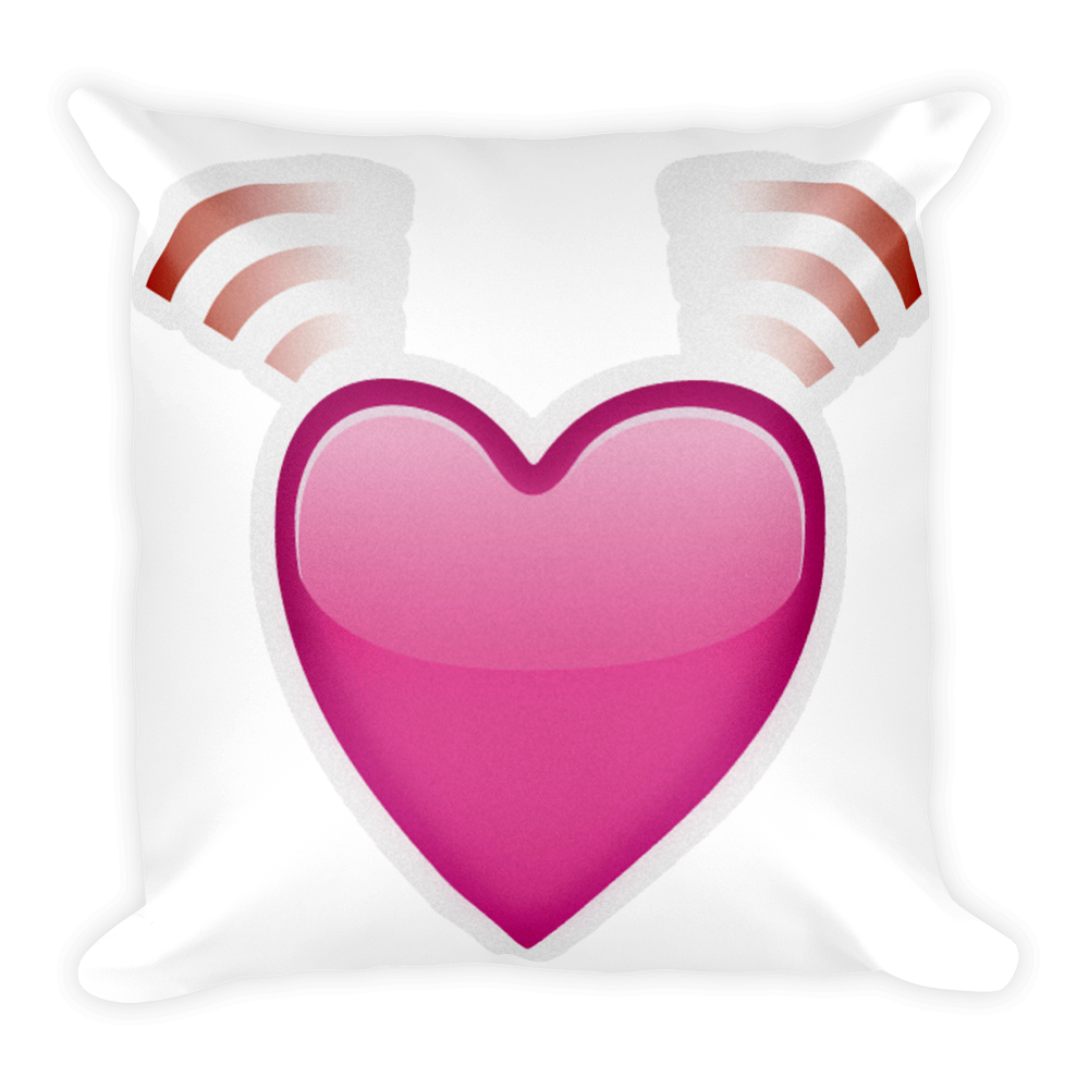 Pillow clipart pink pillow. Emoji beating heart just