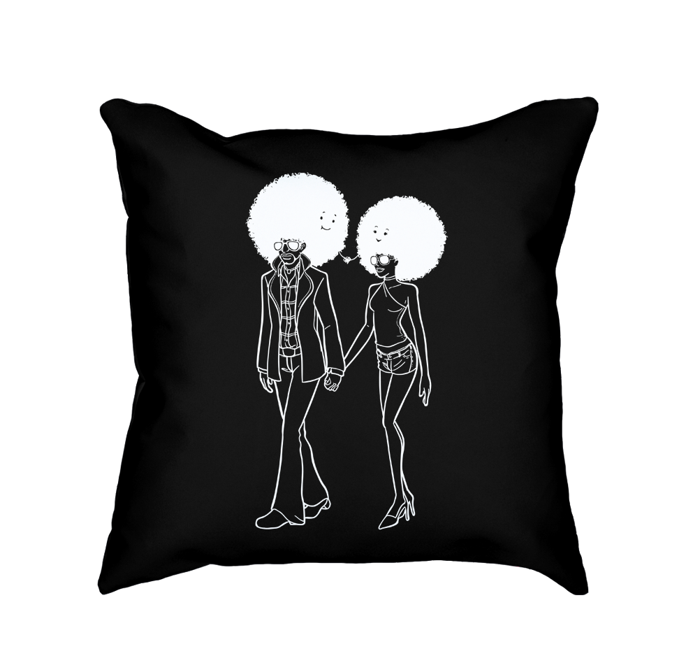 Afro couple flying mouse. Pillow clipart throw pillow
