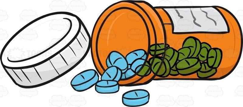 Spilled letters bottle of. Pills clipart
