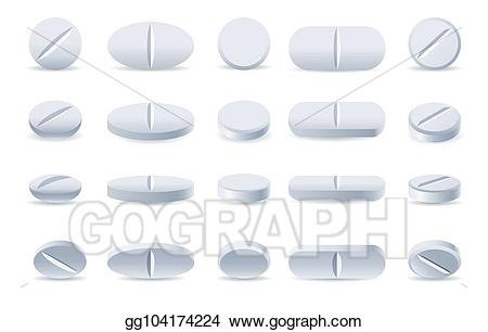 Pills clipart round pill. Vector stock white medicine