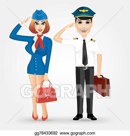 Pilot clipart. Vector art beautiful stewardess