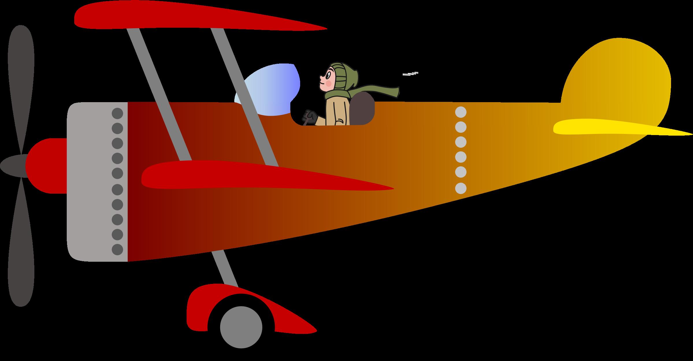 Biplane with a man. Pilot clipart aeroplane pilot