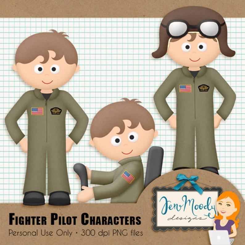 Pilot clipart air force pilot. Fighter airforce element pack
