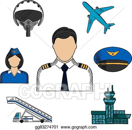 Eps illustration and aircraft. Pilot clipart aviation