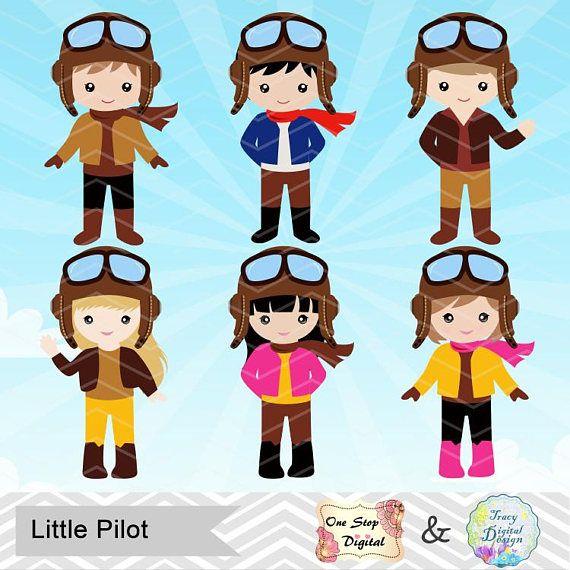 Pilot clipart aviator pilot. Digital little boy girl