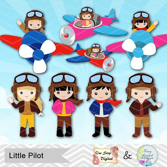 Digital little boy girl. Pilot clipart aviator pilot