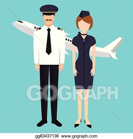 Vector art stewardess flight. Pilot clipart crew