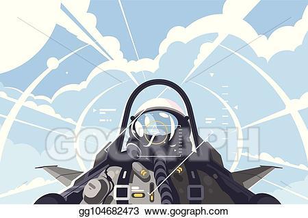 Vector in cockpit . Pilot clipart fighter pilot
