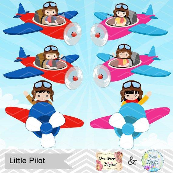 Digital little aviator boy. Pilot clipart girl pilot