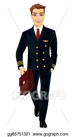 Vector handsome young man. Pilot clipart person
