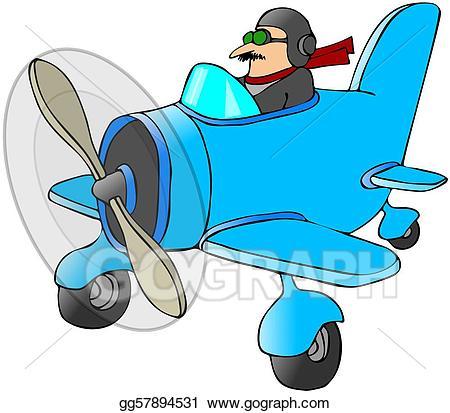 Pilot clipart pilot plane. Stock illustration in a