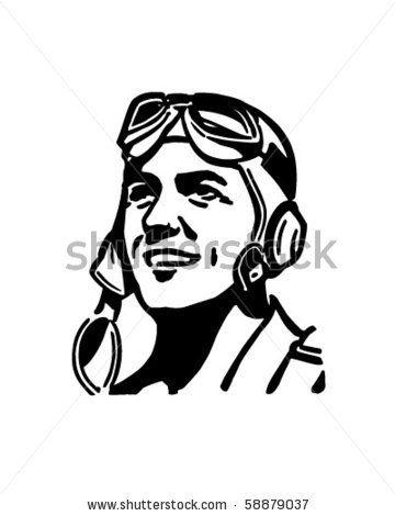 Pilot clipart sketch. With aviator helmet retro