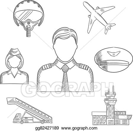 Pilot clipart sketch. Vector art profession and