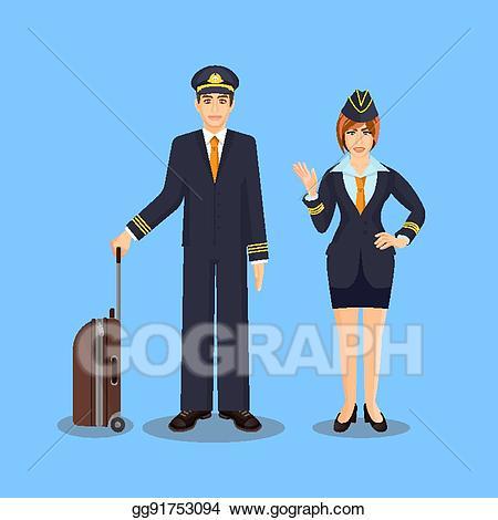 Vector art with brown. Pilot clipart steward