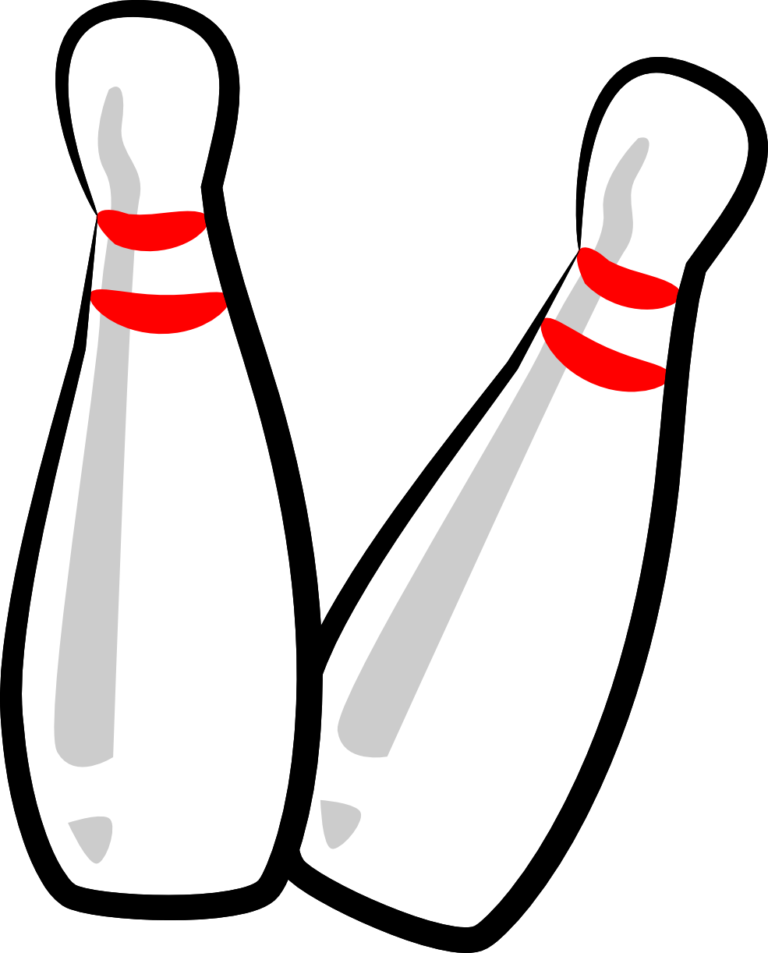 Pin black and white. Retro clipart bowling