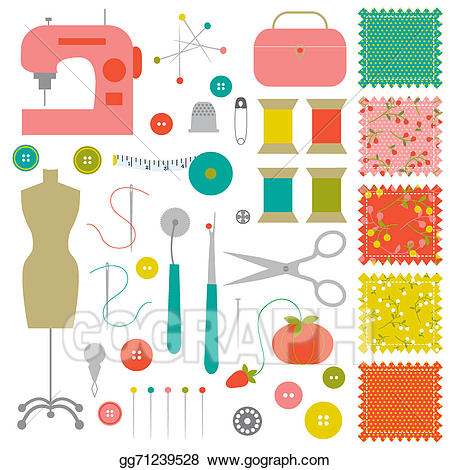 Sewing clipart sewing material. Stock illustration gg
