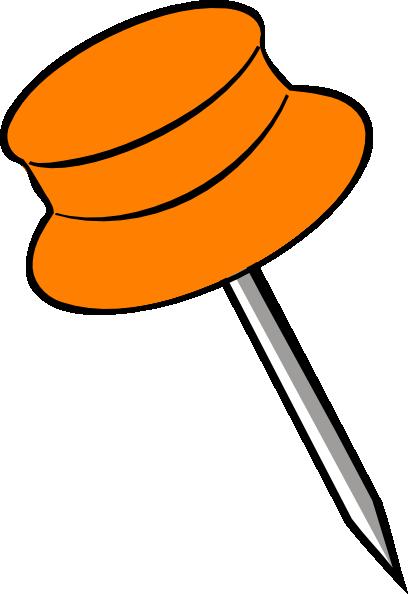 Free orange push clip. Pin clipart
