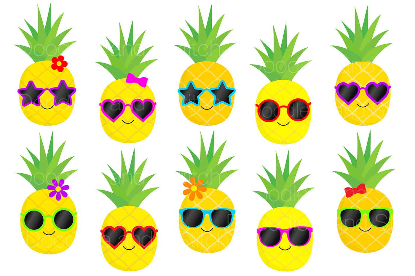 Funky set by doodle. Pineapple clipart