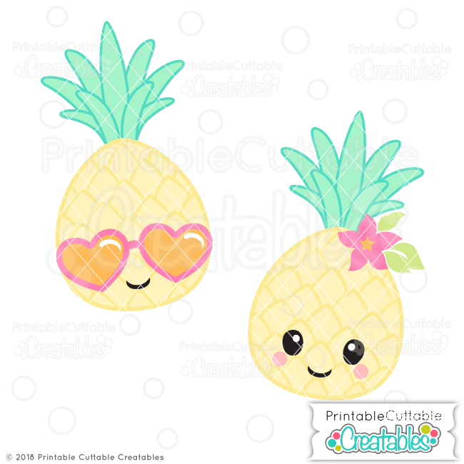 Pineapple clipart adorable. Cute svg file for
