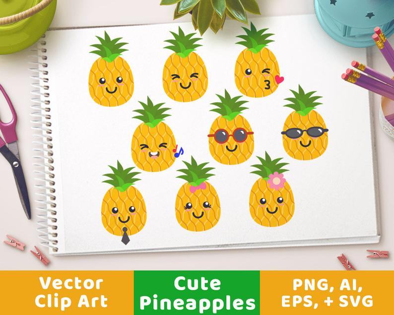 Pineapple clipart adorable. Cute pineapples svg tropical