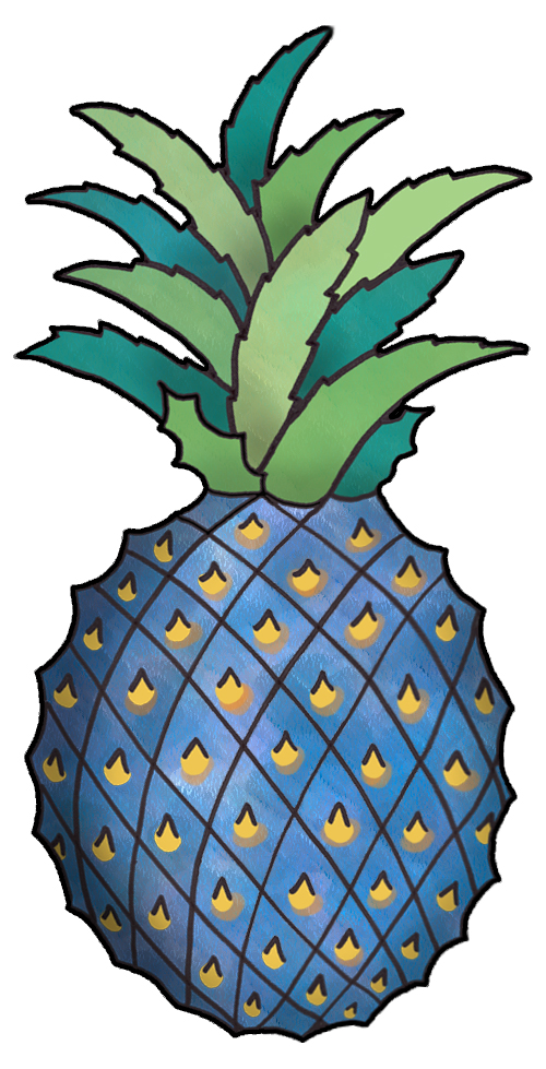 Download clip art . Pineapple clipart blue