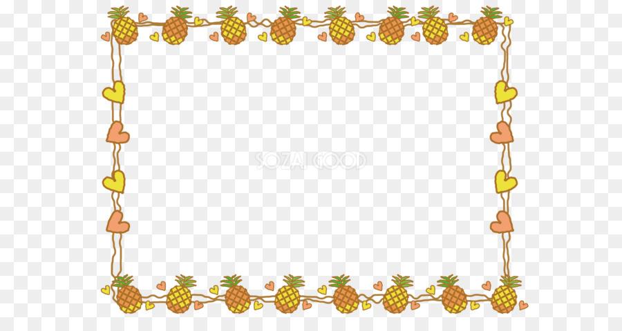 Border design flower png. Pineapple clipart borders
