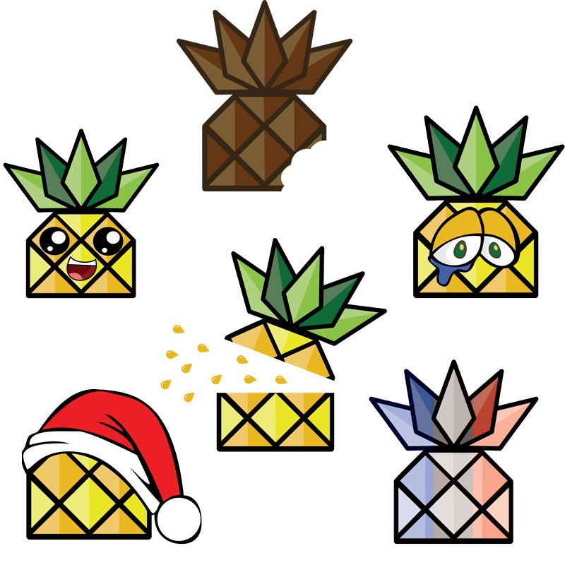 The digital agency web. Pineapple clipart character
