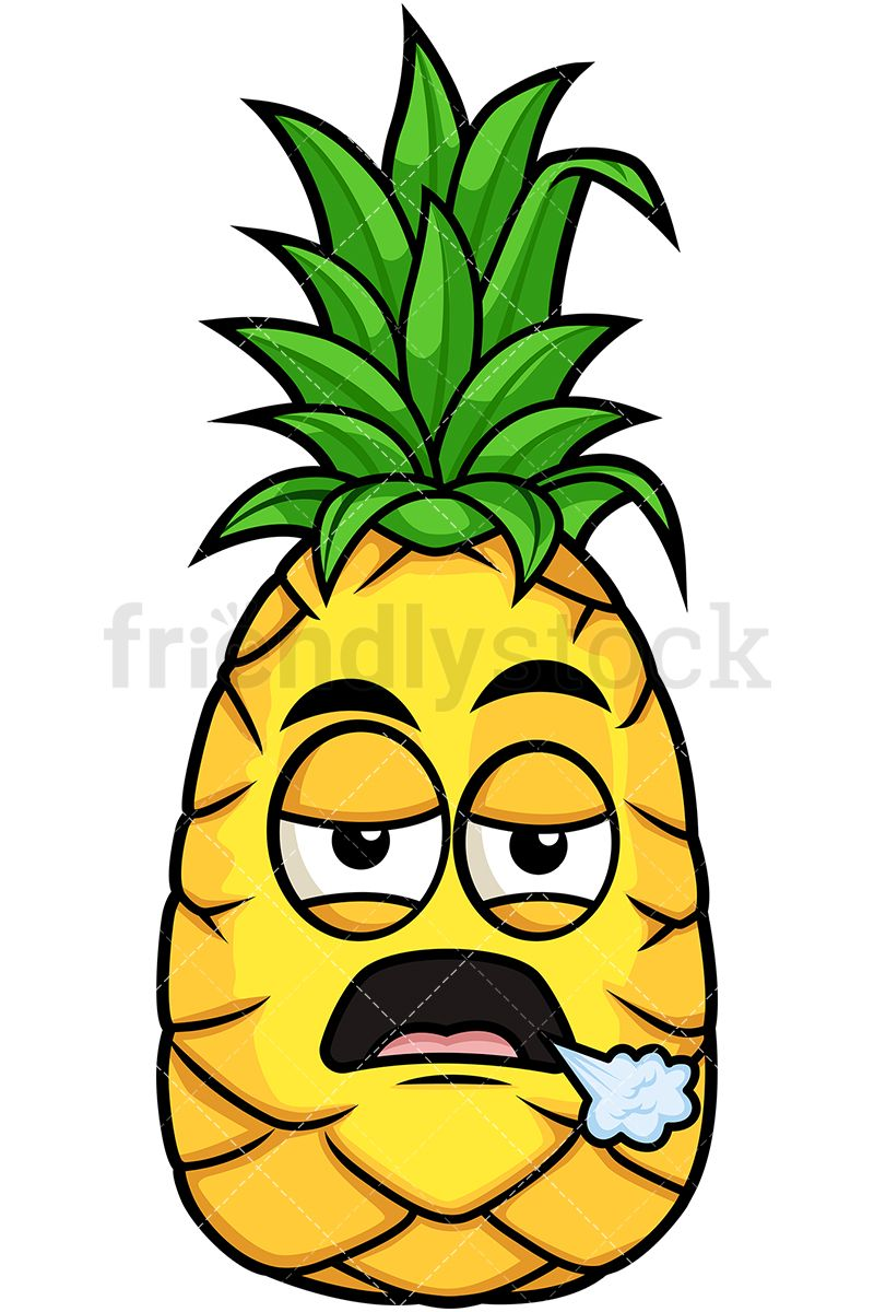 Pineapple clipart character. Bored kids angry cartoon