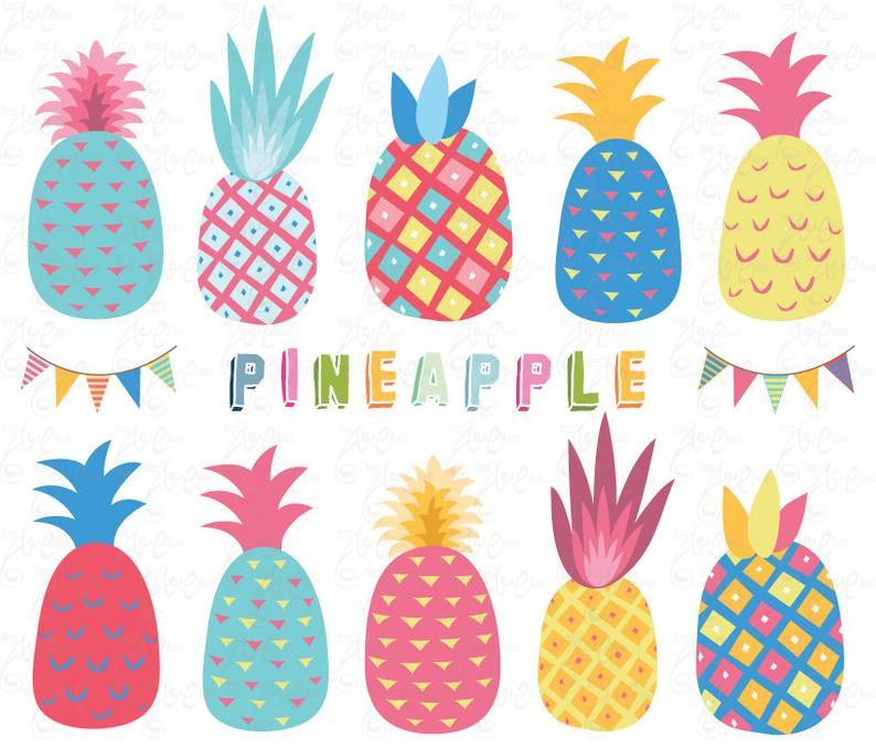 Clip art colorful pack. Pineapple clipart coloured