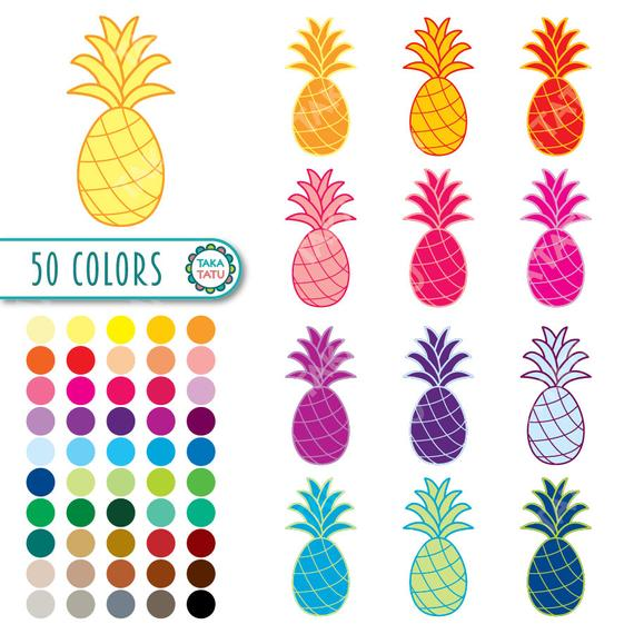 Rainbow colorful pineapples printable. Pineapple clipart coloured