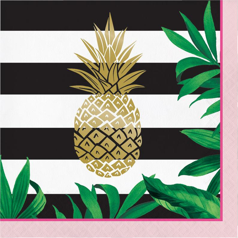 Gold foil napkins party. Pineapple clipart fancy