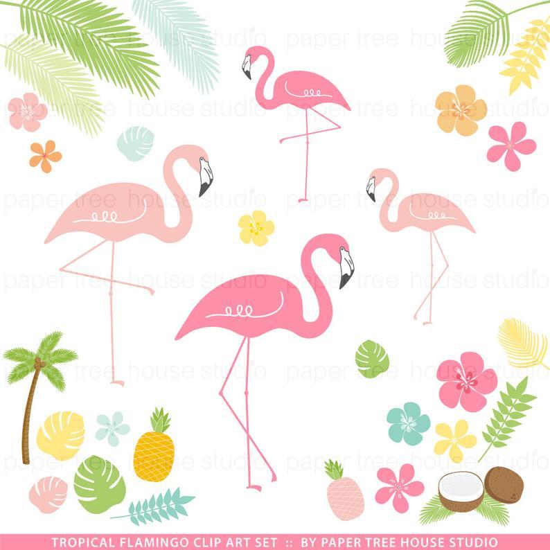 Pink clip art download. Pineapple clipart flamingo