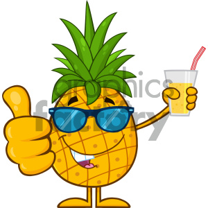 Fruit with green leafs. Pineapple clipart glass