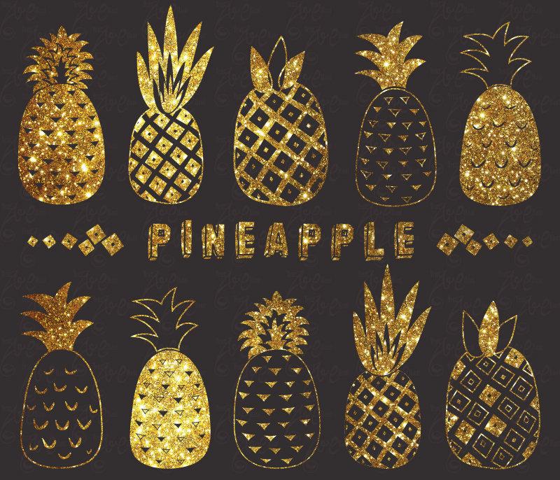 Pineapple clipart glitter. Chalkboard pack cute aloha