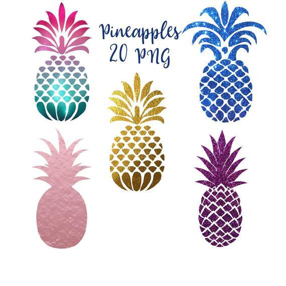 Pineapple clipart gold glitter. Clip art pineapples tropical