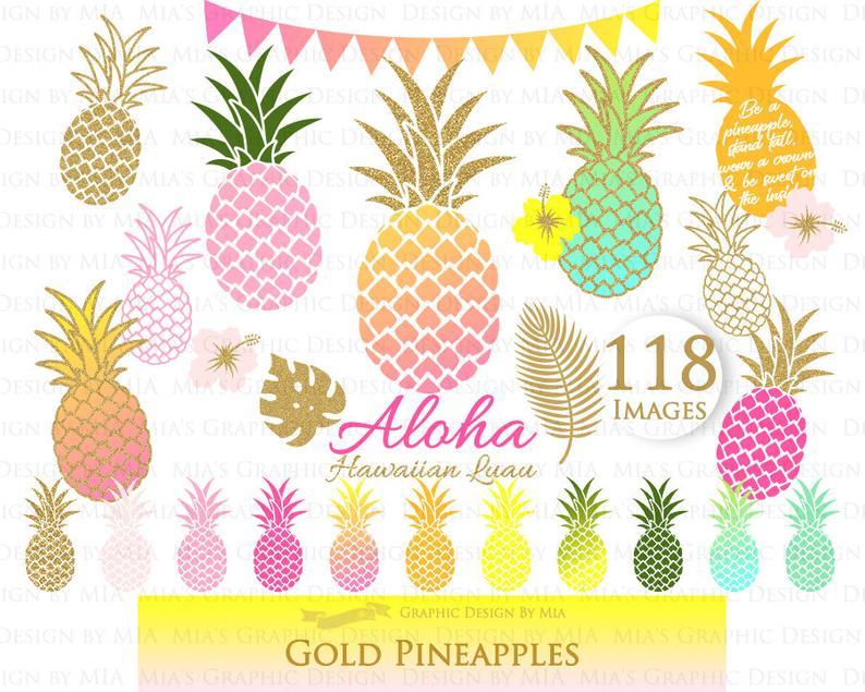 Hawaiian party aloha luau. Pineapple clipart gold glitter