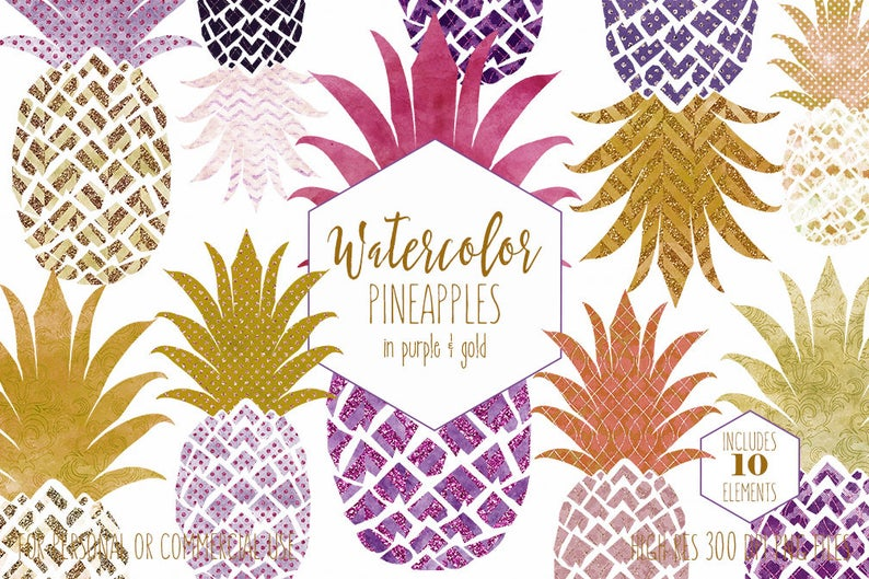 Pineapple clipart gold glitter. Purple commercial use clip