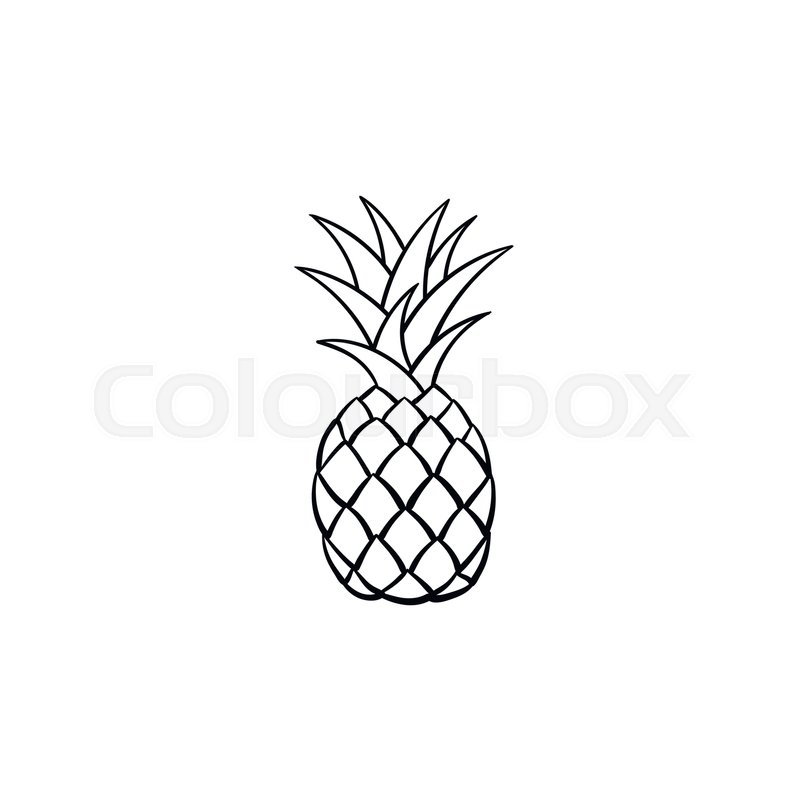 Pineapple clipart grey. Free drawn black download