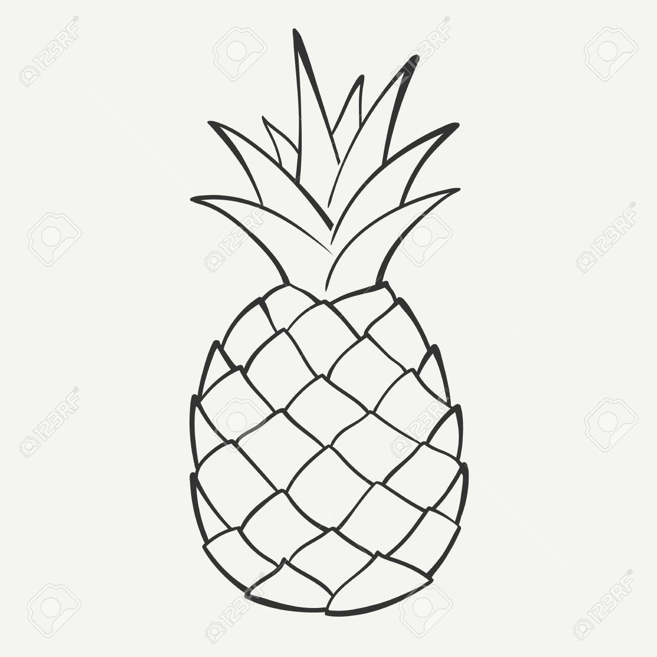 Drawn black x free. Pineapple clipart grey