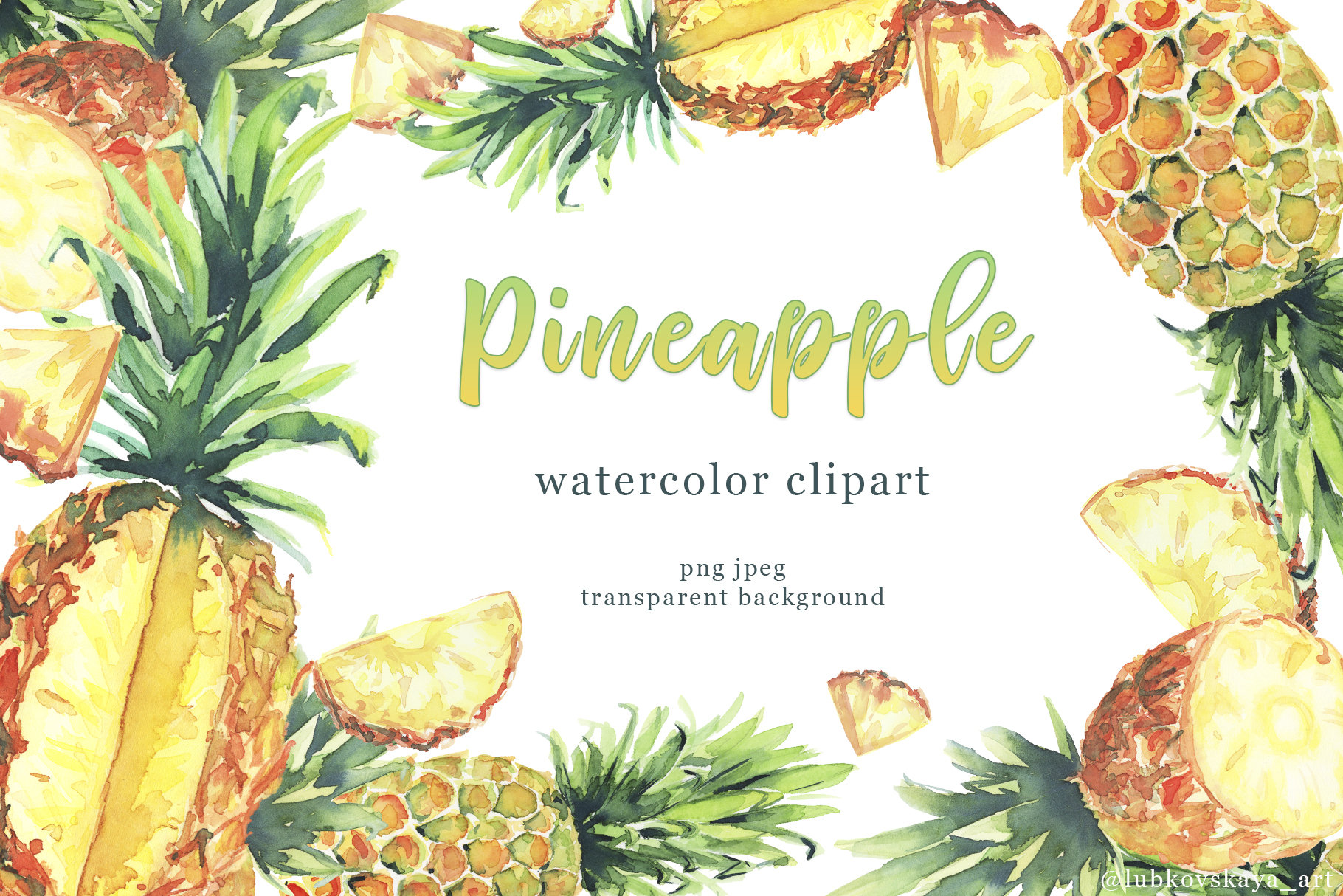 Pineapple clipart juicy. Watercolor tropical fruits ripe