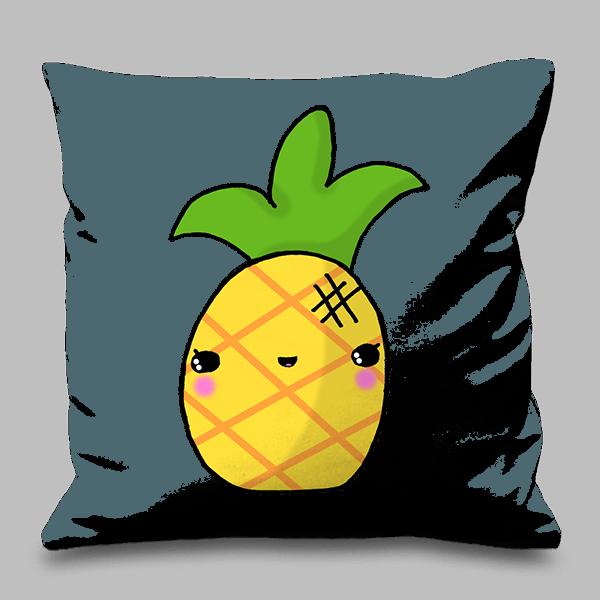 Cute tropical imaginative ink. Pineapple clipart kawaii