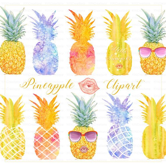 Pineapple clipart modern. Summer watercolor tropical fruit
