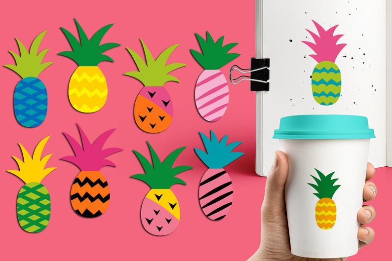 Pineapple clipart modern. Funky design