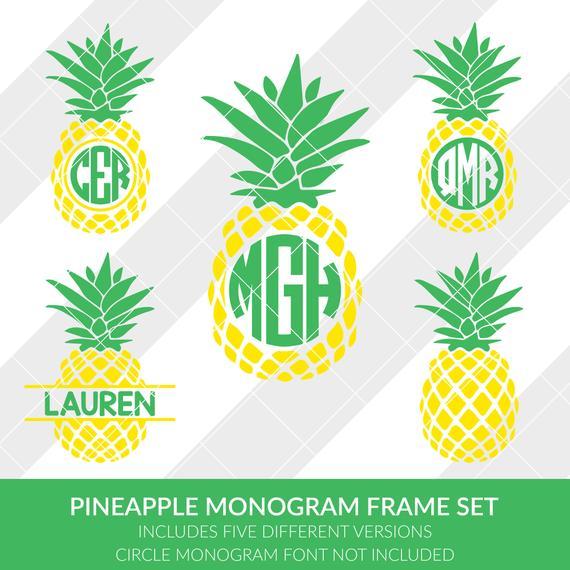 Pineapple clipart monogram. Svg eps dxf studio